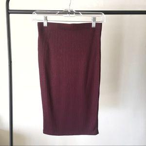 Forever 21 Burgundy Ribbed Knit Pencil Skirt